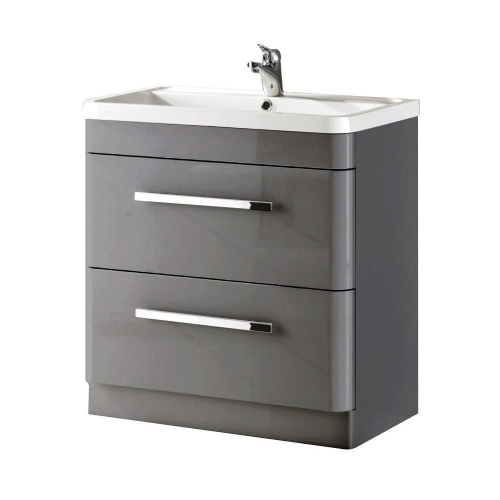 Crystal 800mm Grey Gloss Floor Standing Vanity Unit & Basin